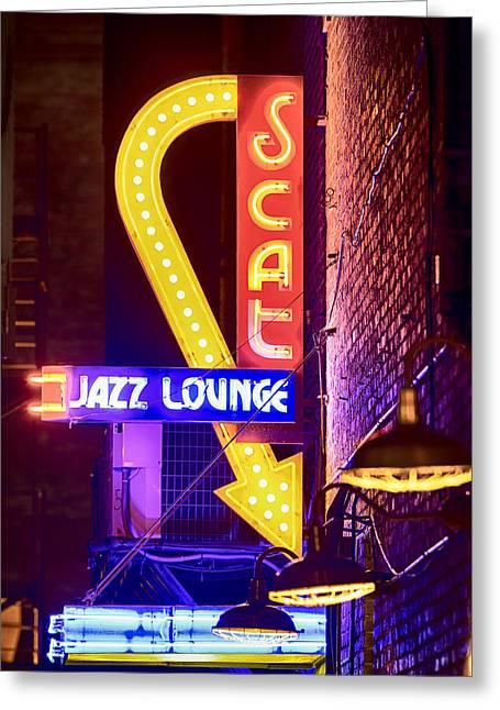Scat Jazz Neon V3 Greeting Card