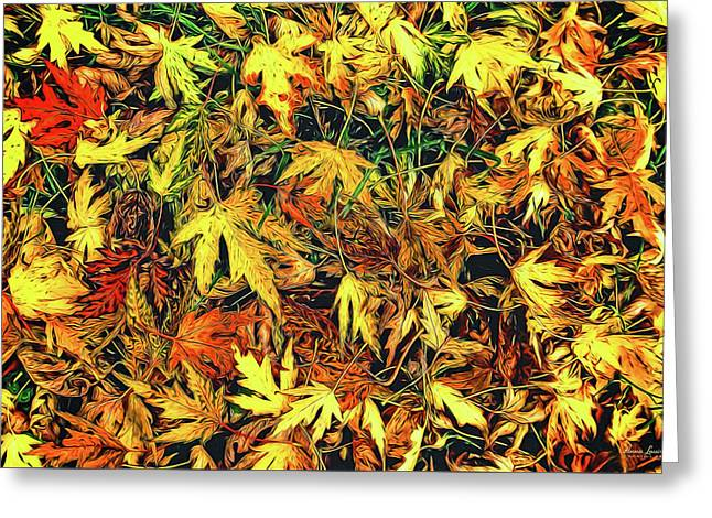 Scattered Autumn Leaves Greeting Card