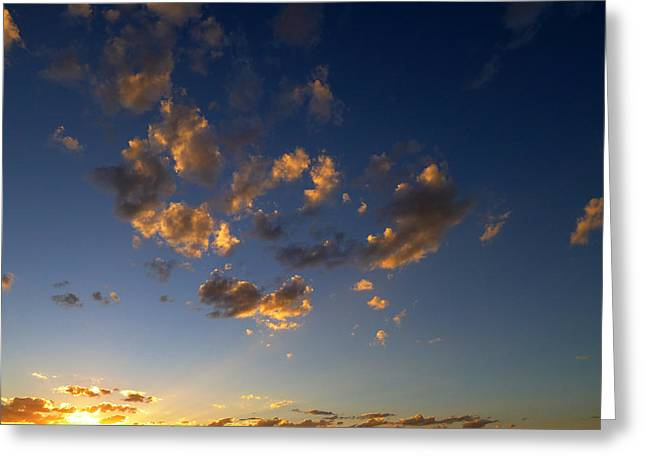 Greeting Card featuring the photograph Scattered Clouds At Sunset by Paul Cutright