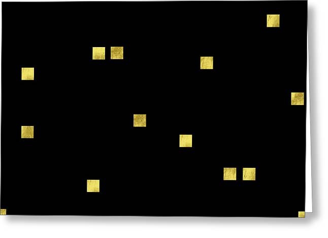 Scattered Gold Square Confetti Gold Glitter Confetti On Black Greeting Card by Tina Lavoie