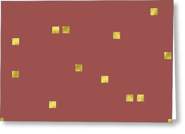 Scattered Gold Square Confetti Pattern, Marsala Background Greeting Card by Tina Lavoie