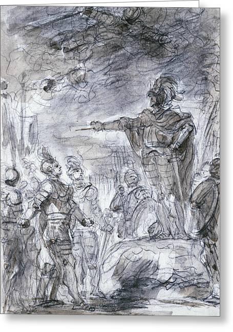 Scene From Ariosto's Orlando Furioso Greeting Card by Jean-Honore Fragonard