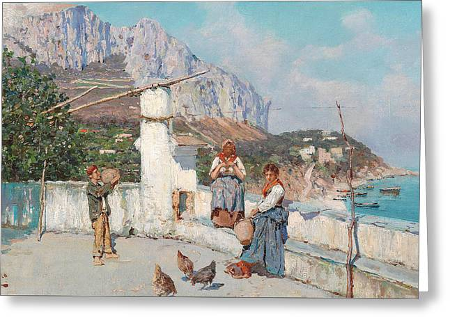 Scene From Capri Greeting Card by Giuseppe Giardiello