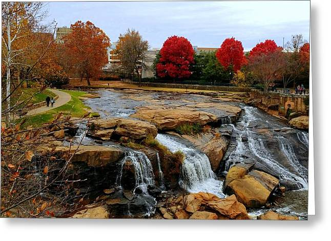 Scene From The Falls Park Bridge In Greenville, Sc Greeting Card
