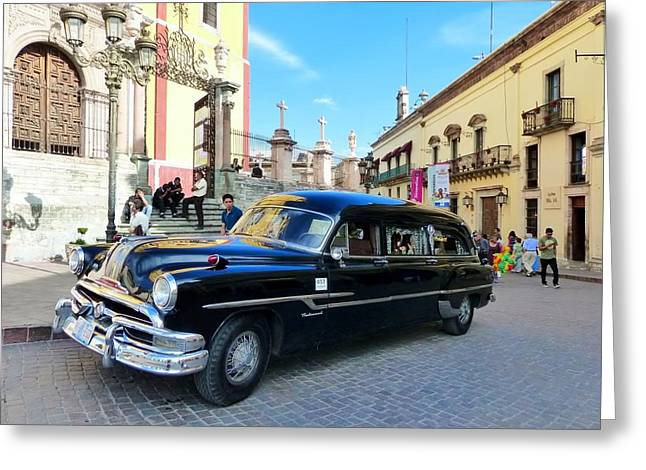 Funeral Car In Guanajuato Greeting Card