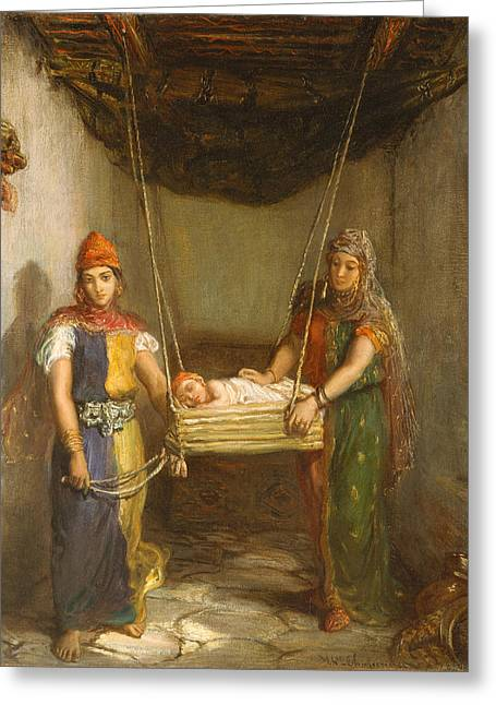 Scene In The Jewish Quarter Of Constantine Greeting Card by Theodore Chasseriau
