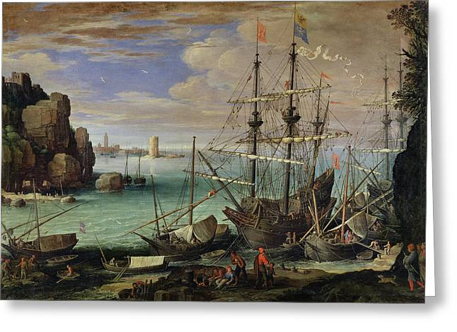 Scene Of A Sea Port Greeting Card by Paul Bril