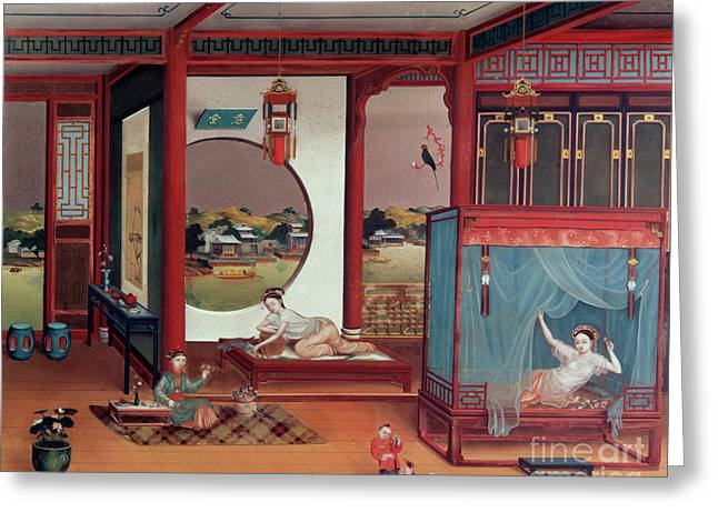 Scene Of An Interior Greeting Card by Chinese School
