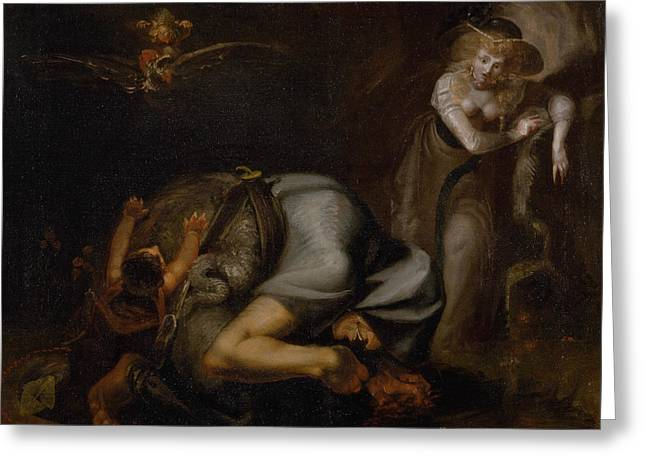 Scene Of Witches Greeting Card by Henry Fuseli