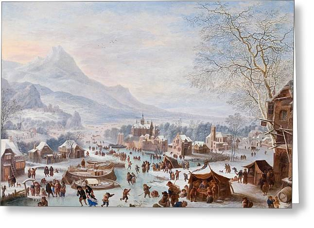 Scene With Skaters Greeting Card by Mountain Dreams