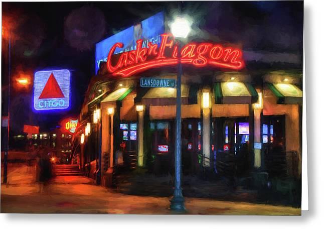 Scenes Around Fenway - Cask N Flagon - Boston Greeting Card by Joann Vitali