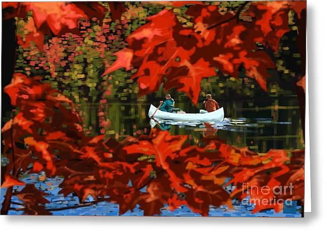 Scenic Autumn Canoe  Greeting Card