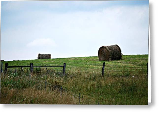 Scenic Haybales #1 Greeting Card by Barbara Woodson