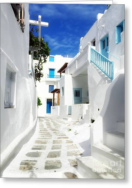 Scenic Mykonos Greeting Card by HD Connelly