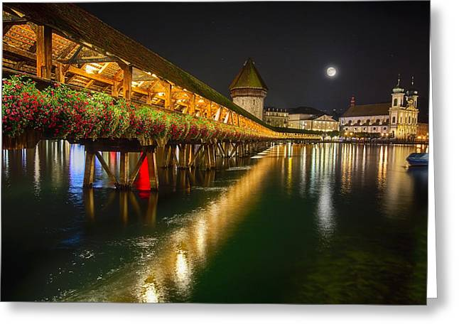 Scenic Night View Of The Chapel Bridge In Old Town Lucerne Greeting Card