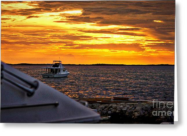 Scenic Sunset On The Keys Greeting Card by Dieter  Lesche
