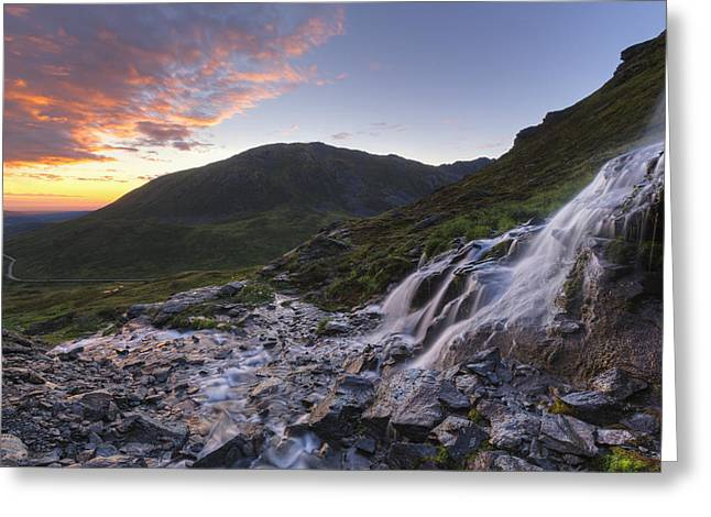 Scenic Sunset View Of A Waterfall Greeting Card by Lucas Payne