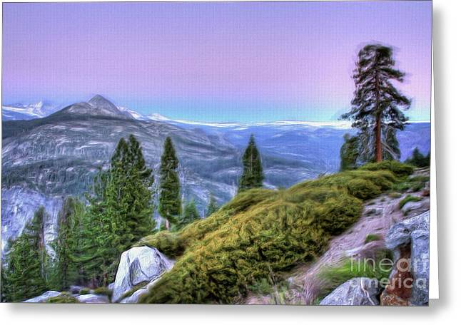 Scenic View From Yosemite Glacier Point Ap Greeting Card