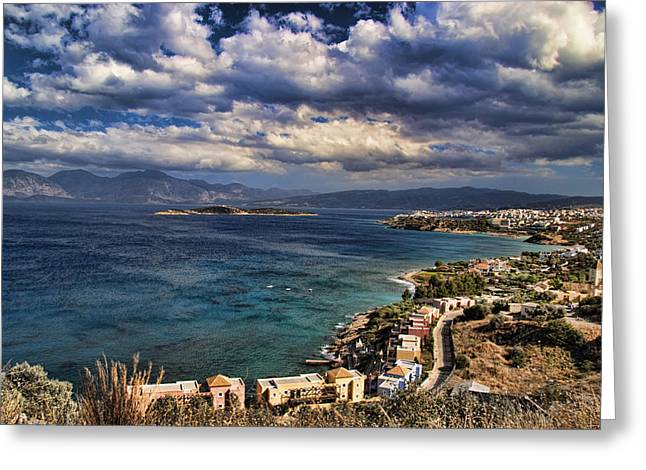 Panoramic Ocean Greeting Cards - Scenic view of eastern Crete Greeting Card by David Smith
