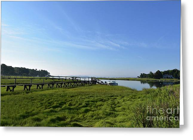 Scenic Views Of Duxbury Bay With Lush Green Marsh Grass Greeting Card by DejaVu Designs