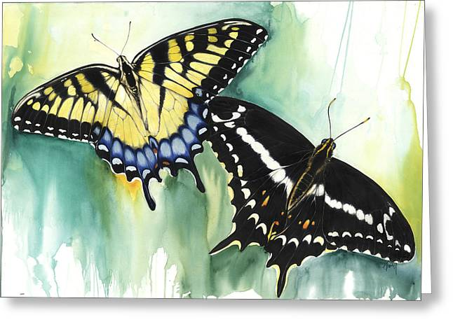 Greeting Card featuring the mixed media Schaus Swallowtail Butterfly  by Anthony Burks Sr