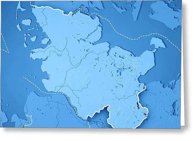 Schleswig-holstein Bundesland 3d Render Topographic Map Blue Bor Greeting Card