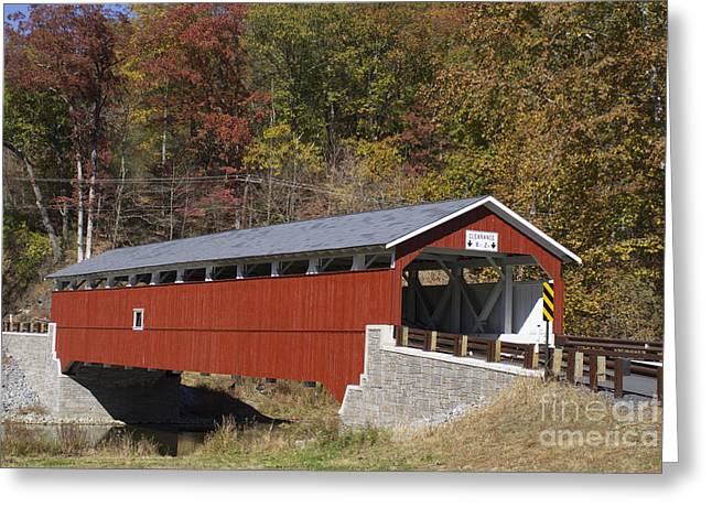 Schlicher Covered Bridge Greeting Card by Lori Amway