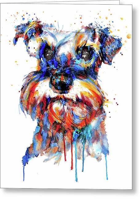 Schnauzer Head Greeting Card by Marian Voicu