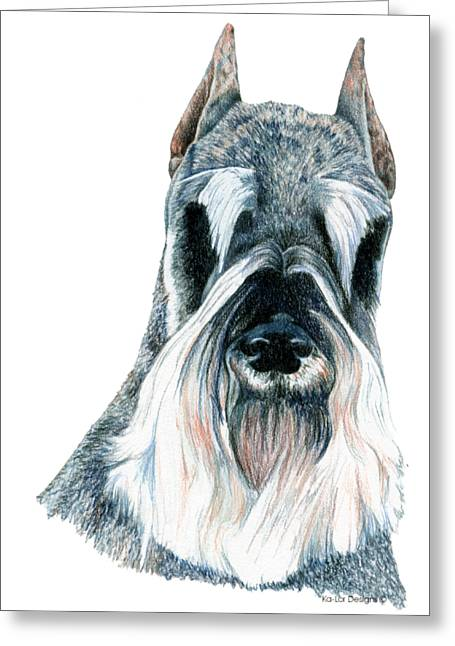 Schnauzer Greeting Card by Kathleen Sepulveda