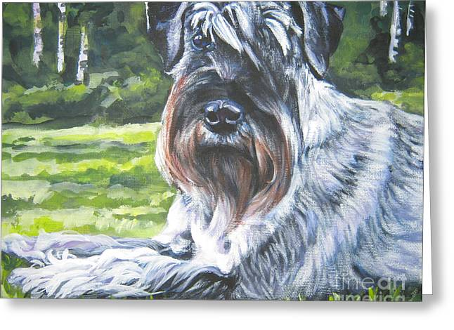 Schnauzer Greeting Card by Lee Ann Shepard