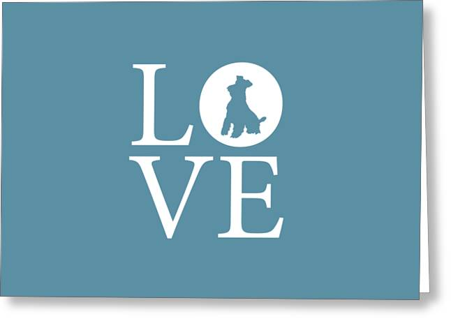 Schnauzer Love Greeting Card by Nancy Ingersoll