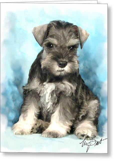 Schnauzer Pup Greeting Card by Maxine Bochnia