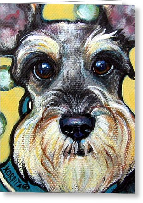 Schnauzer With Polkadots Greeting Card by Rebecca Korpita
