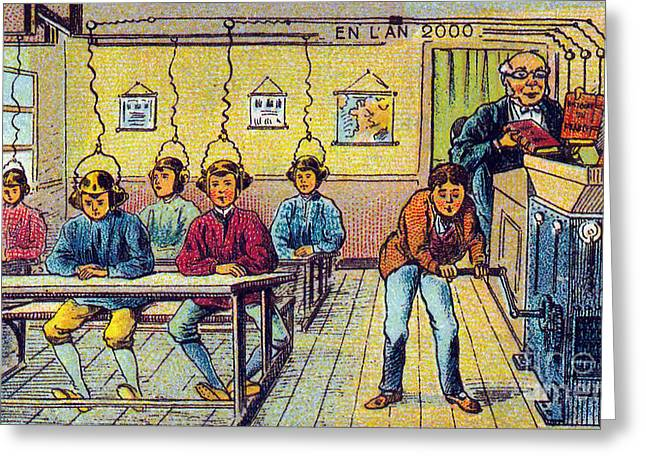 School, 1900s French Postcard Greeting Card