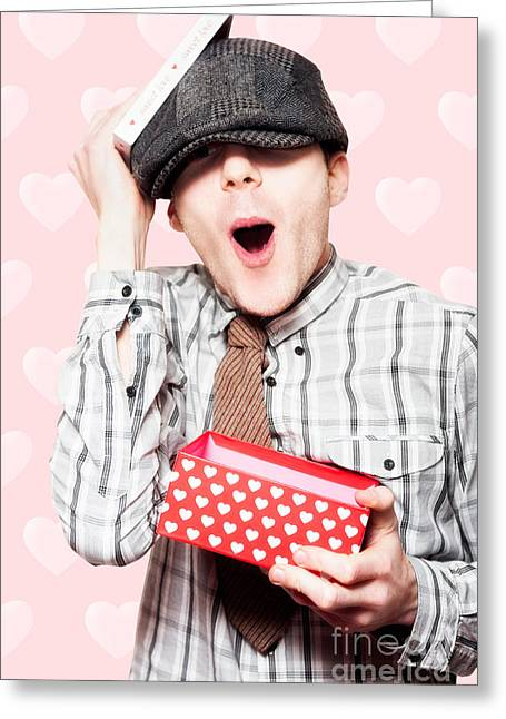 School Boy In Love Holding Valentines Day Present Greeting Card by Jorgo Photography - Wall Art Gallery