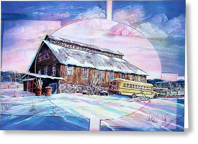 School Bus And Barn Greeting Card