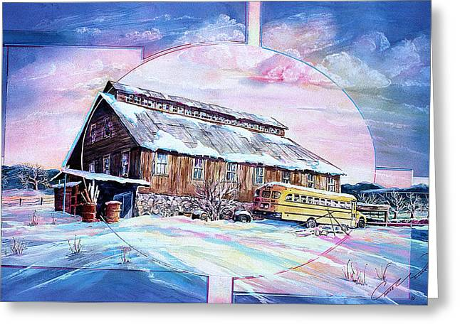 School Bus And Barn Greeting Card