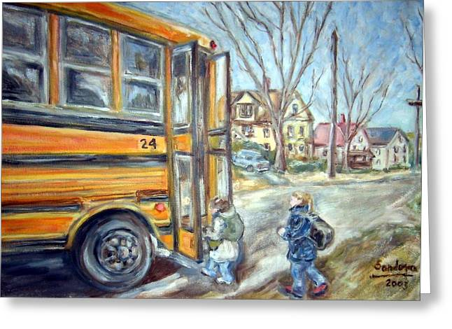 School Bus Greeting Card by Joseph Sandora Jr