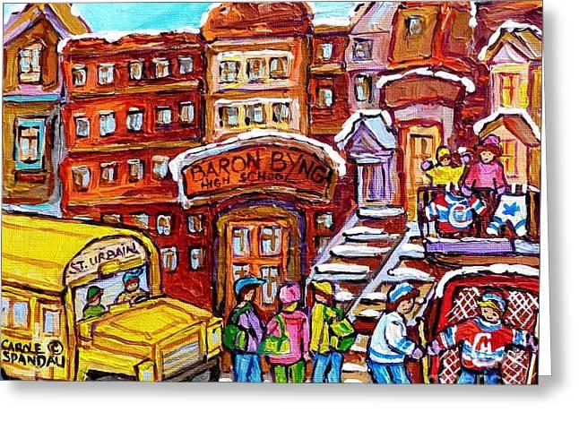 School Bus Rue St Urbain Baron Byng High Montreal 375 Hockey Art Colorful Street Scene Painting      Greeting Card by Carole Spandau
