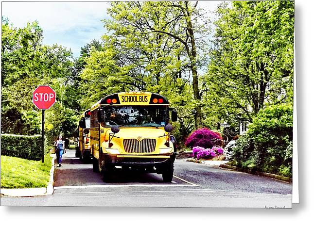 School Buses At Stop Sign In Spring Greeting Card by Susan Savad