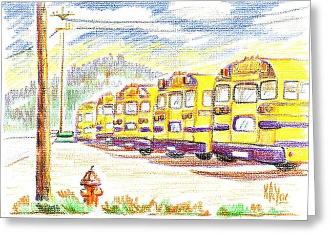 School Bussiness Greeting Card by Kip DeVore