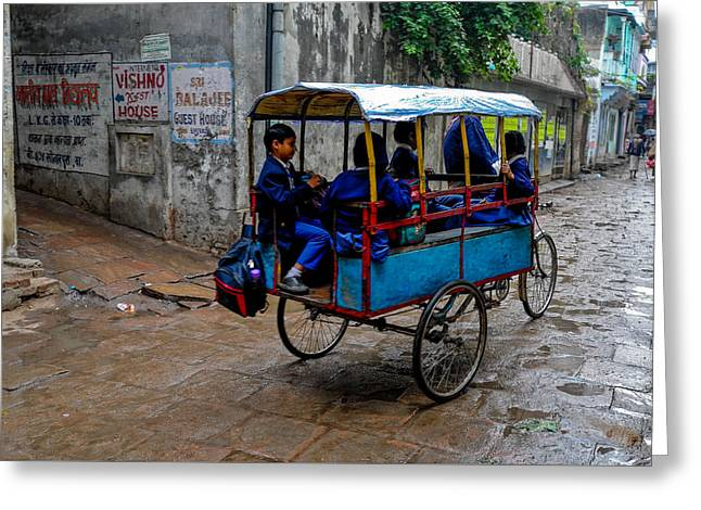 School Cart Greeting Card