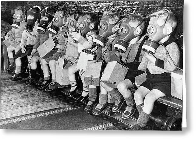School Children Wear Gas Masks During The Blitz London England 1940 Greeting Card by David Lee Guss