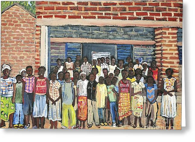 Brick Schools Paintings Greeting Cards - School Class Burkina Faso Series Greeting Card by Reb Frost