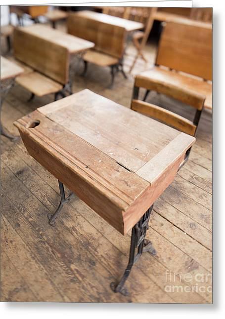 School Desks In A One Room School Building Greeting Card
