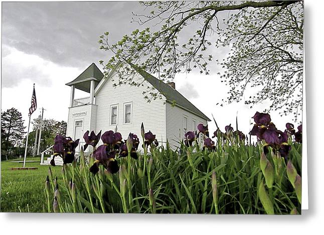 Country Schools Greeting Cards - School House in the Country II Greeting Card by Christine Belt