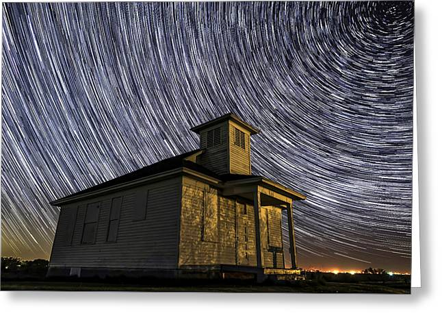 School House Under The Stars Greeting Card