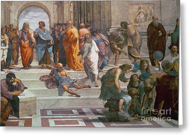 School Of Athens, Detail From Right Hand Side Showing Diogenes On The Steps And Euclid Greeting Card