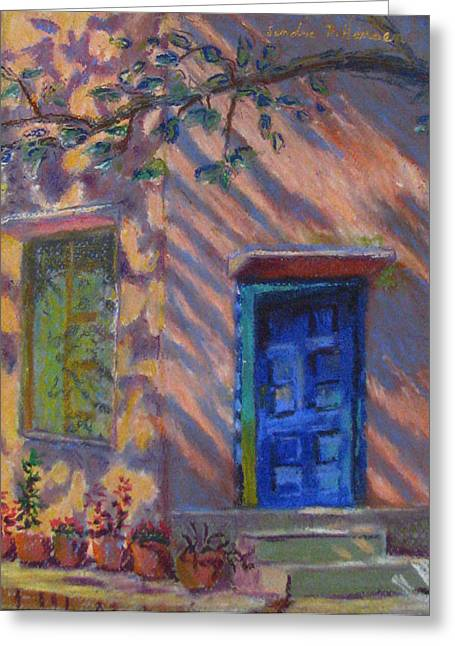 School Room Door Varanasi India Greeting Card by Art Nomad Sandra  Hansen