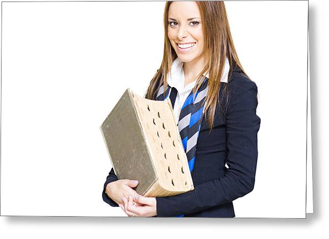 School Teacher Smiling Holding Education Textbook  Greeting Card by Jorgo Photography - Wall Art Gallery
